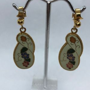VTG Floral Cloisonné Earrings
